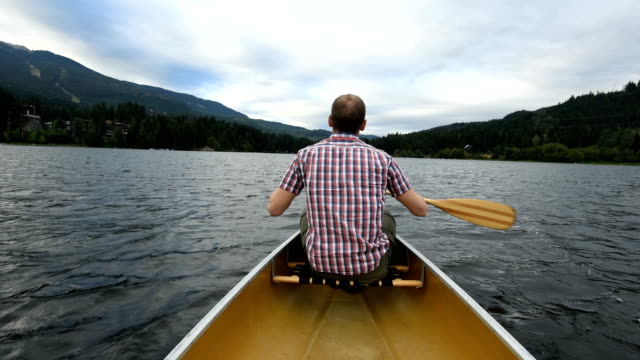 canoeing on alta lake in whistler, bc, canada - using a paddle stock videos & royalty-free footage
