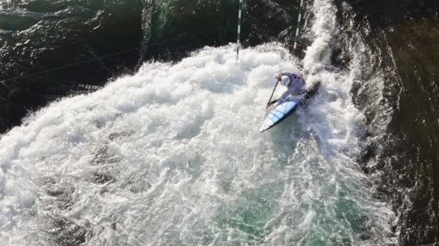 AERIAL Canoeist competing on the artificial whitewater course