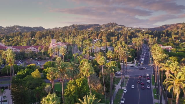 canon drive, beverly hills at sunset - aerial view - beverly hills california stock videos & royalty-free footage
