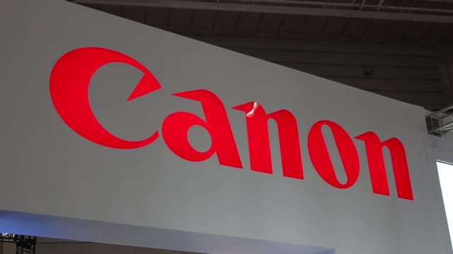 A Canon Inc logo is displayed at the CP Camera and Photo Imaging Show 2015 in Yokohama Kanagawa Prefecture Japan on Thursday Feb 12 Canon Inc digital...
