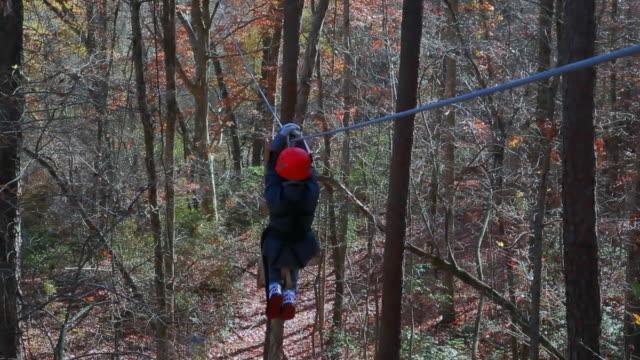 canopy tour via ziplining - zip line stock videos & royalty-free footage