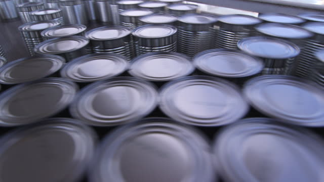 cans at turn around point on production line - wiese stock videos & royalty-free footage