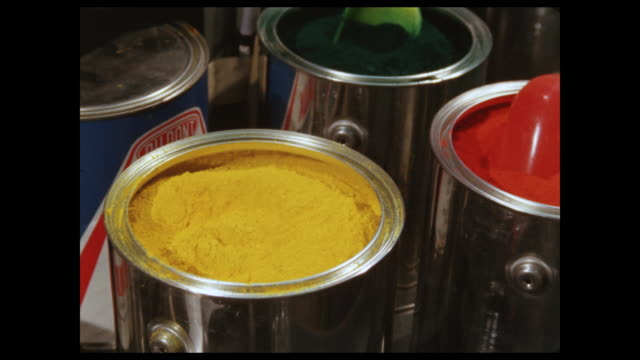 cans of dye in primary colors - dye stock videos & royalty-free footage