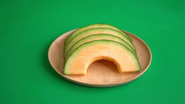 cantaloupe melon on green screen