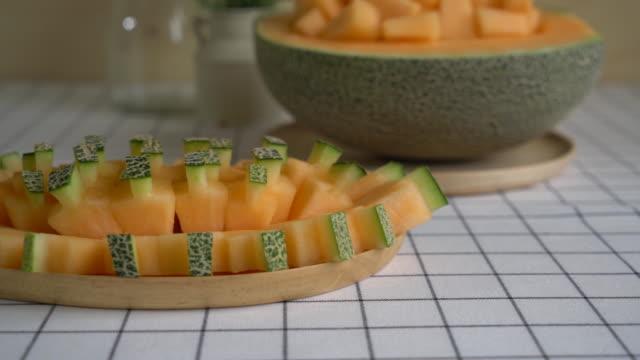 cantaloupe melon on the table
