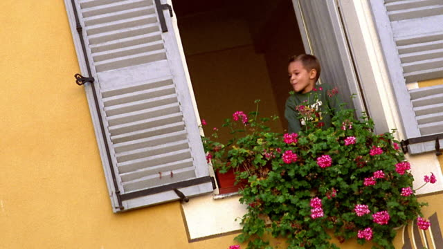 vidéos et rushes de canted wide shot young boy looking out window with flowers /woman lifts boy and closes window /provence, france - volet