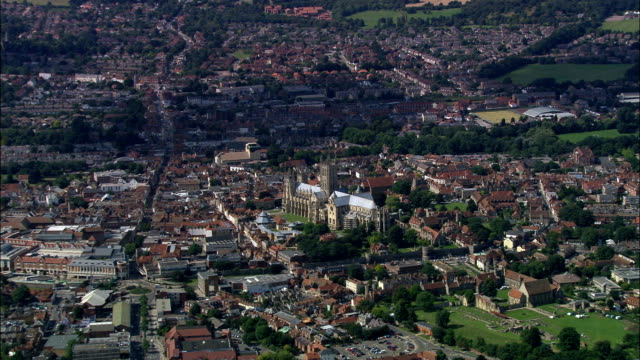 canterbury cathedral  - aerial view - england, kent, city of canterbury, united kingdom - kent england stock videos & royalty-free footage