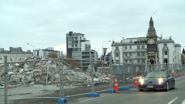 canterbury earthquake damage - christchurch stock-videos und b-roll-filmmaterial