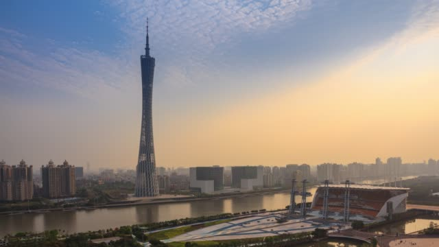 t/l canton tower and city sunset, guangzhou, china - guangzhou stock videos & royalty-free footage