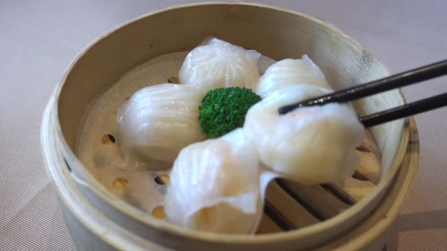 cantonese dim sum:shrimp dumplings - guangzhou stock videos & royalty-free footage