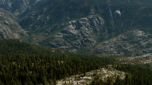 Canyon landscape of forest and granite in the Sierra National Forest and Ansel Adams Wilderness, Madera County, Northern California.
