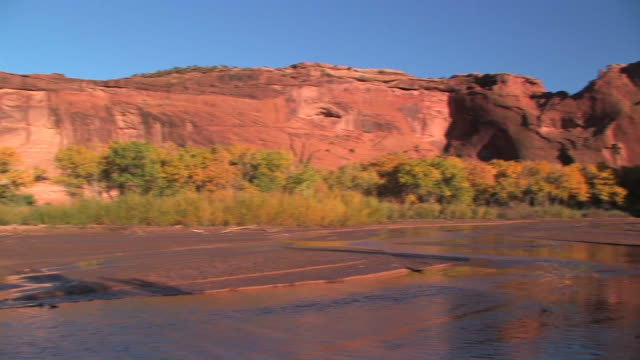 WS PAN Canyon walls with shallow river/ Canyon de Chelly National Monument, Arizona