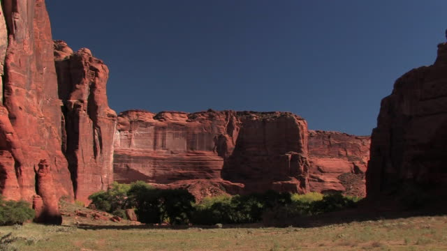 ws canyon walls with trees at bottom/ canyon de chelly national monument, arizona - canyon de chelly stock videos & royalty-free footage