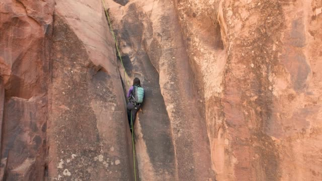 canyoneering in moab, utah - moab utah stock videos and b-roll footage