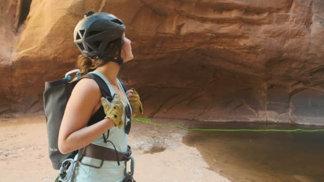 canyoneering in moab, utah - moab utah stock videos & royalty-free footage