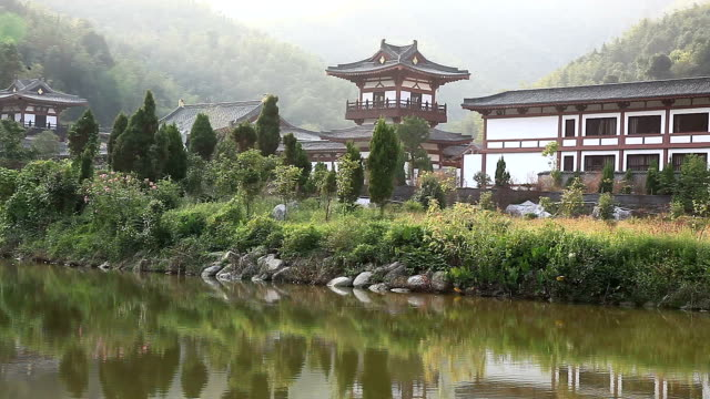 caoshan temple located in fuzhou city - classical chinese garden stock videos & royalty-free footage