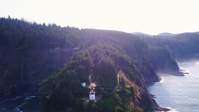 Cape Meares Lighthouse on Oregon Coast - Drone Shot