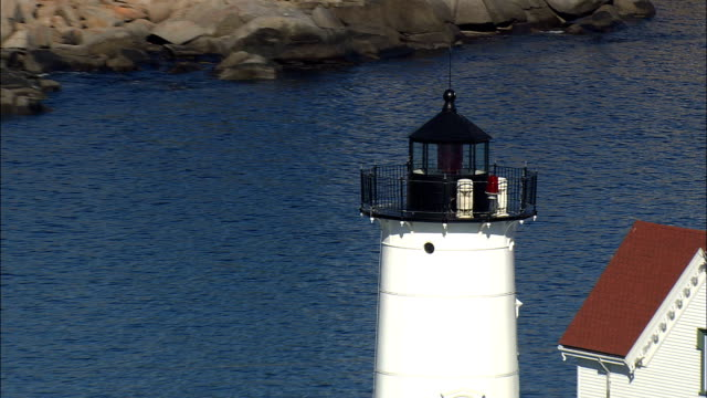 Cape Neddick Lighthouse  - Aerial View - Maine,  York County,  United States