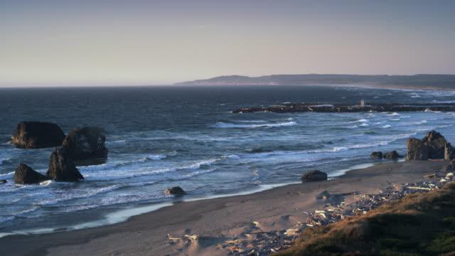cape perpetua oregon coast at sunset - oregon coast stock videos & royalty-free footage