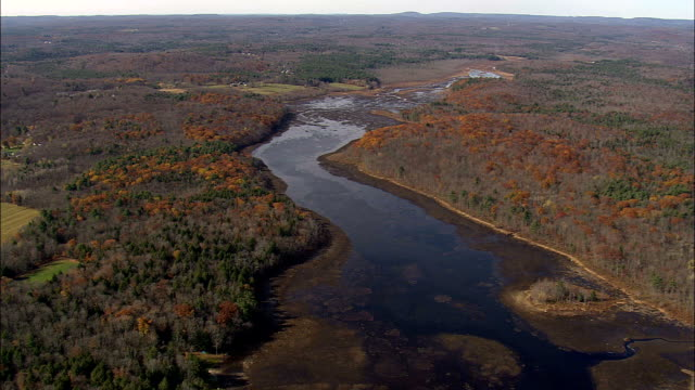 cape pond near napanoch  - aerial view - new york,  ulster county,  united states - ulster county stock videos & royalty-free footage