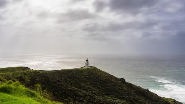 vidéos et rushes de le cap reinga, nouvelle-zélande - time lapse - région du northland