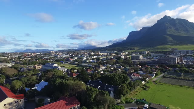 Cape Town and Table Mountain drone shot