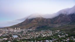 Cape Town Clouds Over Table Mountain Time Lapse Day to Night South Africa