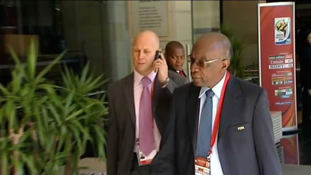 cape town: jack warner arriving for 2010 world cup draw - fifa world cup 2010 stock videos & royalty-free footage