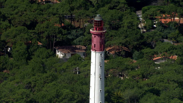cap-ferret lighthouse  - aerial view - aquitaine, gironde, arrondissement d'arcachon, france - aquitaine stock videos and b-roll footage