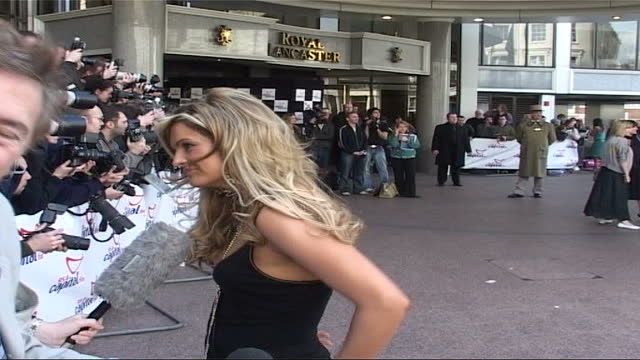celebrity arrivals; england: london: katy hill posing for photocall, speaking to press sot rachel stevens posing for photocall zoom in - zoom in stock videos & royalty-free footage