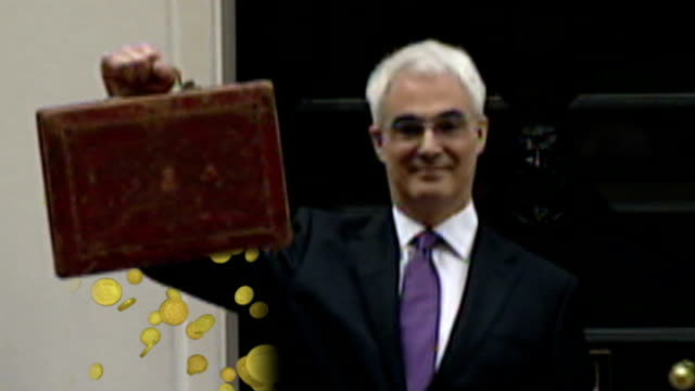 capital gains tax changes spark financial rearrangements lib london westminster downing street alistair darling mp holding up budget briefcase / coins - alistair darling stock videos & royalty-free footage