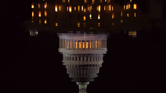 hd us capital night tilt up_3 (1080/24p) - politics stock videos & royalty-free footage