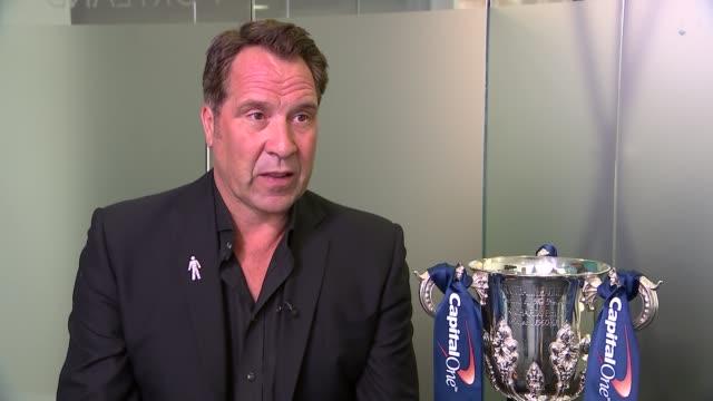 David Seaman interview ENGLAND INT Football League Cup trophy on display / David Seaman interview SOT on Chelsea v Arsenal match Diego Costa slapping...