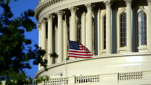 US Capital Tight Angle with Flag at Half Mast