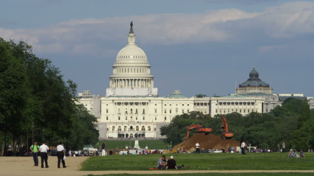 US Capitol Building and National Mall, excavating work in progress. Shot in May 2012.
