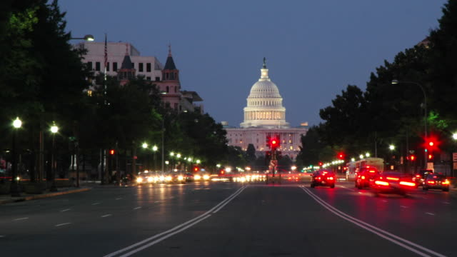 capitol building at dusk - capitol building washington dc stock videos & royalty-free footage