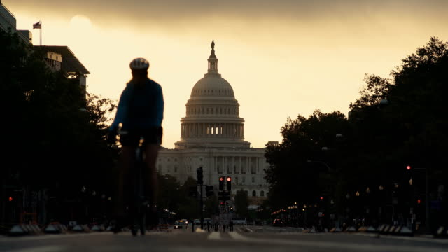 capitol building in the early morning, washington d.c, usa - capitol building washington dc stock videos & royalty-free footage