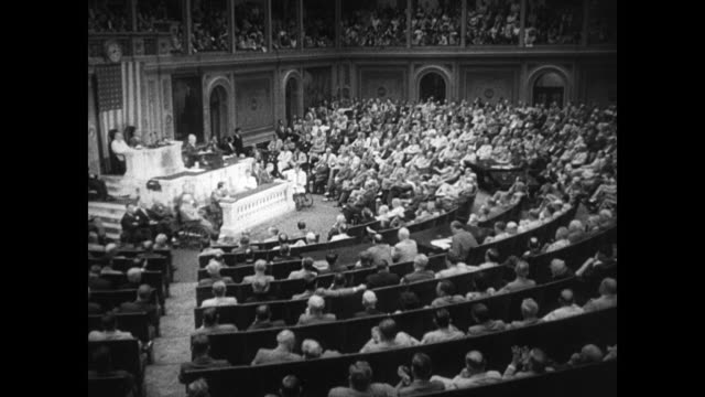 capitol building president harry s truman in front of joint session of 80th congress vo truman 'people who depend on benefits hope that protection... - united states congress stock-videos und b-roll-filmmaterial