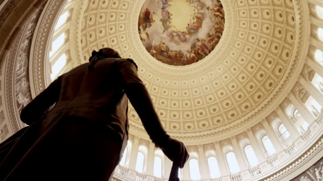 u.s. capitol building rotunda george washington in washington, dc - 4k/uhd - senate stock videos & royalty-free footage
