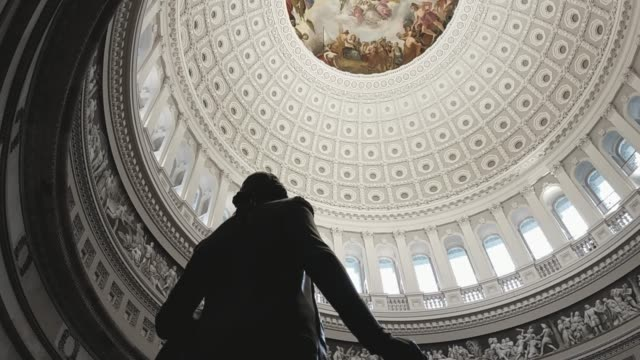u.s. capitol building rotunda george washington in washington, dc - tilt up - politica video stock e b–roll