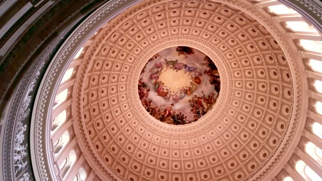 U.S. Capitol Building Rotunda in Washington, DC - Pan Across Interior Dome