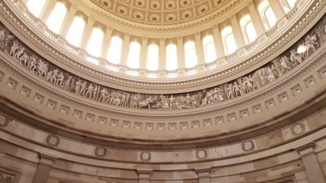 U.S. Capitol Building Rotunda Tilt Up to Dome in Washington, DC - 4k/UHD