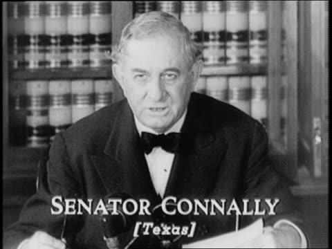 vídeos de stock, filmes e b-roll de capitol building / senator judiciary committee sits at a long table / senator thomas connally of texas gives statement - paramount building