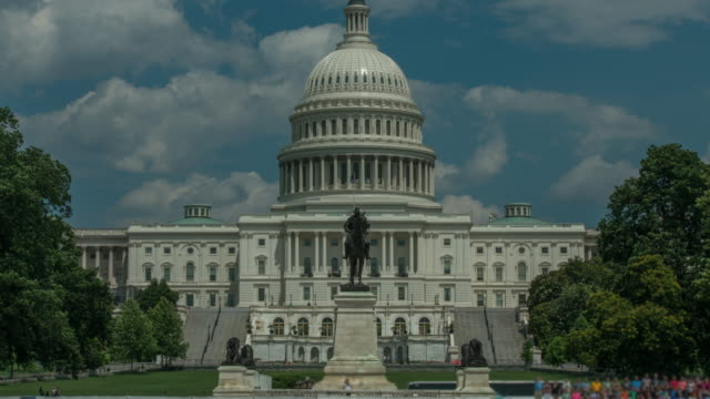 U.S. Capitol Building West Wide Angle in Washington, DC - Time Lapse in 4k/UHD