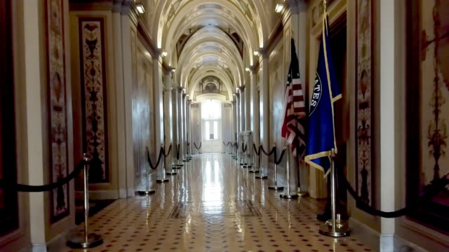 u.s. capitol halls of congress senate corridor in washington, dc - partito repubblicano degli usa video stock e b–roll