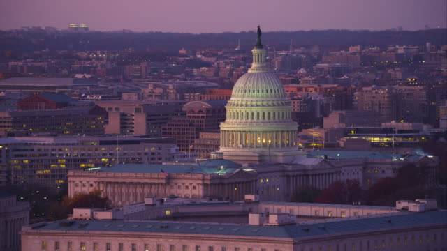 capitol hill from south capitol street at dusk, washington dc. shot in 2011. - artbeats stock videos & royalty-free footage