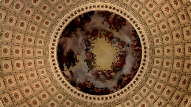 us capitol interior of rotunda and dome-  ecu spin - capitol building washington dc stock videos & royalty-free footage