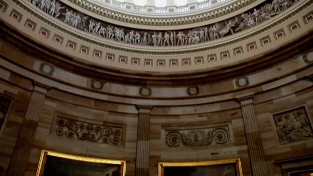 us capitol interior of rotunda and dome - tu - capitol building washington dc stock videos & royalty-free footage