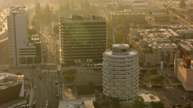 AERIAL Capitol Records Building in Los Angeles, California in the morning sun