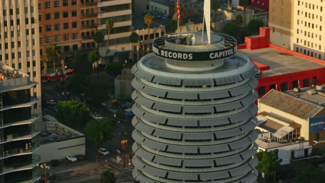AERIAL Capitol Records Tower in Hollywood, Los Angeles